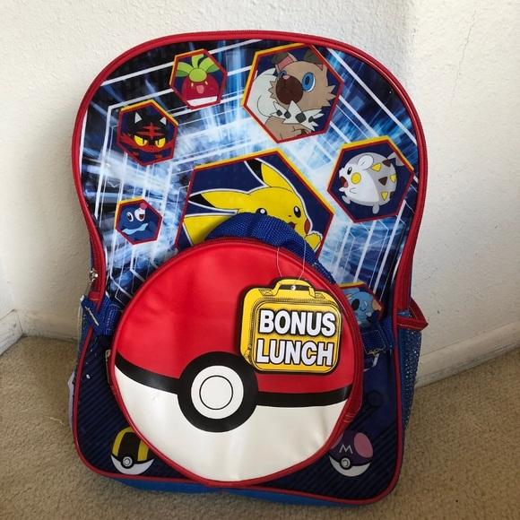 NWT Pokémon Pickachu Backpack Lunch Bag 517c615830d6a